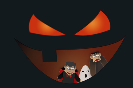 Dracula, Frankenstein and white ghost in smiling mouth of halloween pumpkin
