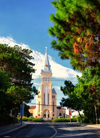 Dalat Cathedral or chicken church at Tran Phu Street in Dalat, Vietnam