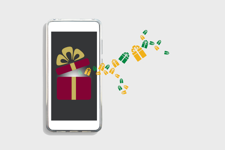 Gift box on smart phone screen on white background, online happiness concept and smart life idea Stock Photo - 114596432