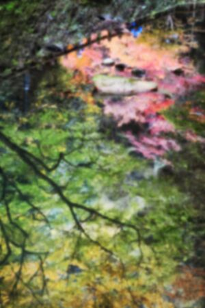 Abstract blur of reflection fall color in the river at Minoo park in Osaka, Japan. Abstract blur concept and nature idea Stock Photo