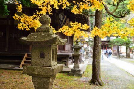 Close-up stone lantern in autumn season at Minoo park in Osaka, Japan
