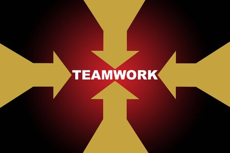 Yellow arrow run to teamwork word on red background, business success concept and synergy idea