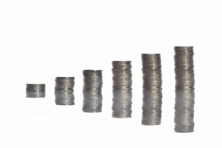 Stack of coins with reflection on white background, business success concept and growth idea