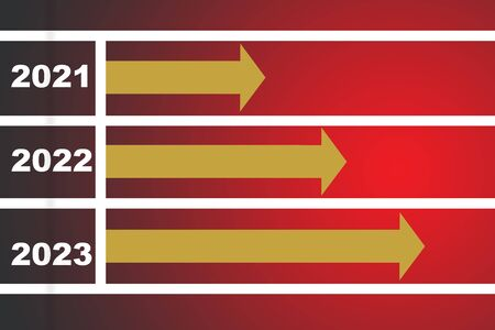 2021 to 2023 and three yellow arrow on red race background, business success concept and growth idea 版權商用圖片