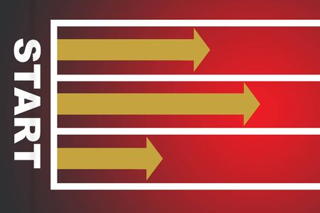 Start word with three yellow arrow on red race background, business success concept and competition idea