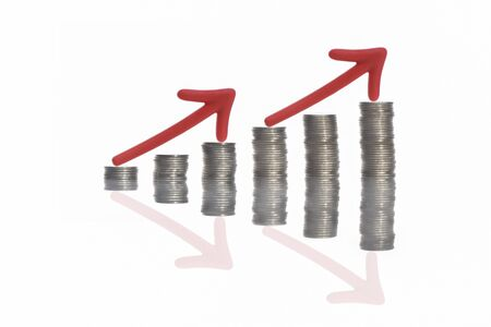Stack of coins and red arrow with reflection on white background, business success productive concept and growth idea 版權商用圖片