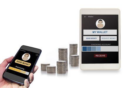 Financial technology concept and peer to peer transfer money idea 版權商用圖片