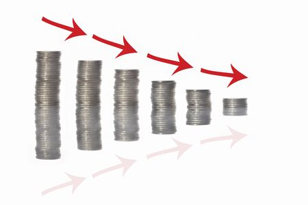 Stack of coins and red arrow with reflection on white background, step down recession concept and risk management business idea