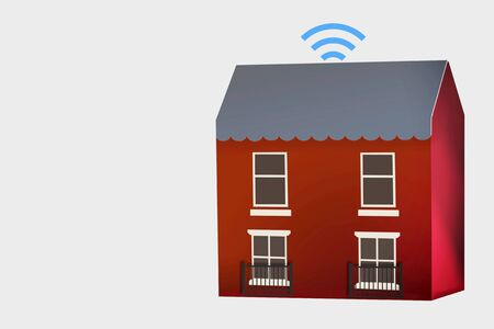 House model with online internet icon on white background, smart technology work from home concept and internet wireless idea