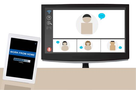 Group of people video conference from home on smart computer screen and online work from home screen on computer tablet on white wall background, smart technology concept and social distancing idea