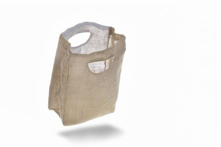 Empty sack shopping bag container isolated on white background