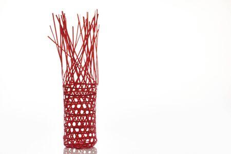 Open bamboo basket isolated on white background