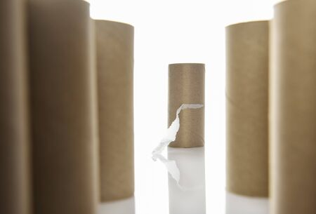 Toilet tissue paper rolls out of stock, Covid-19 panic concept and fear of coronavirus crisis idea Фото со стока