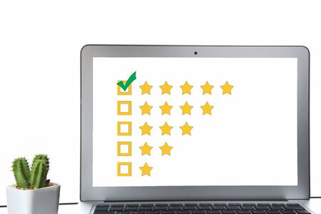The best rating, five stars feedback online review. Business success with excellent concept and smart technology idea Фото со стока
