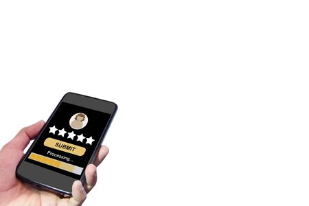 Rating application on smartphone screen. Five stars feedback concept and business success technology idea