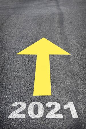 Road to new year 2021, business challenge concept and keep moving idea