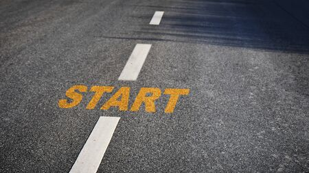 Start word on asphalt road surface, business challenge concept and success idea
