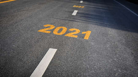 Road to 2021, business chalenge concept and happy new year idea