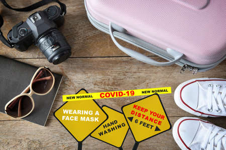 Travel in the new normal concept and covid-19 disruption idea.