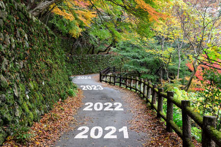New year 2021 to 2024 on walkway in the mountain with maple trees, happy new year concept and natural background idea Stock fotó