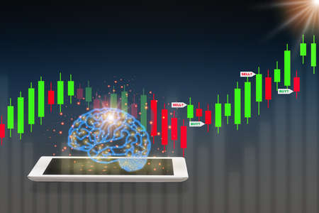 Return on investment with brain modern technology machine learning on computer tablet, artificial intelligence concept and technology transformation idea