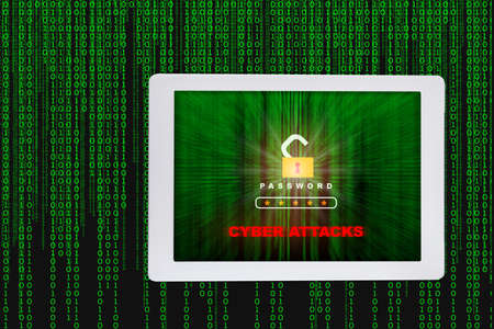 Cyber attacks and hacking detected concept with pattern of green binary code decimal motion blur idea