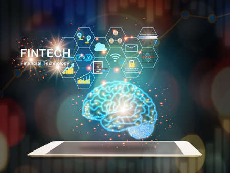 Brain modern technology machine learning on computer tablet with fintech theme background. Artificial intelligence and financial technology transformation concept and investment with internet of thing idea