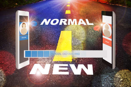 Mobile chat and new normal word on road. Social distancing and working from home concept and new normal life after covid-19 idea