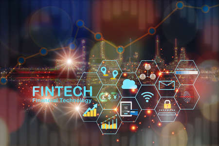 Financial technology is changing energy industry background.  Artificial intelligence and fintech theme technology transformation concept and investment with internet of thing idea Stock fotó