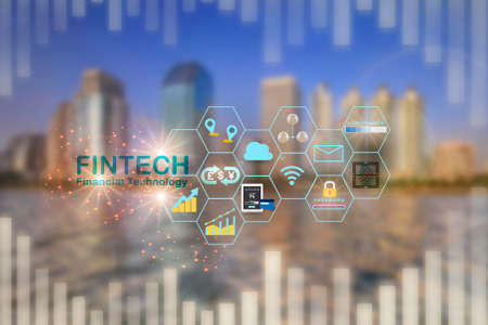 Financial technology is changing business. Artificial intelligence and fintech theme technology transformation concept and investment with internet of thing idea Standard-Bild