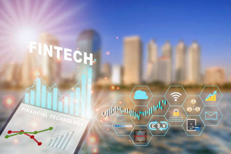 Financial technology is changing business. Artificial intelligence and fintech theme technology transformation concept and investment with internet of thing idea Archivio Fotografico