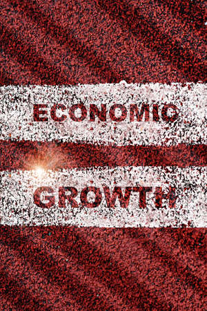 Economic growth words on red running road. Business cycle stage concept and business challenge idea Stock fotó - 157762803