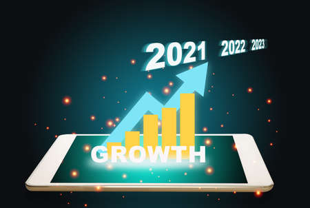 New year 2021, 2022, 2023 with  business plan graph growth on digital tablet screen. Technology concept and 3d illustration and 3d rendering idea Stock fotó