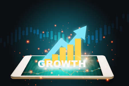 Business plan graph growth on digital tablet screen. Technology innovation investment concept and 3d illustration and 3d rendering idea