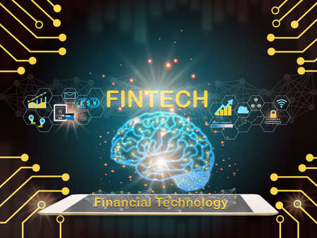 Brain modern technology machine learning on computer tablet with fintech theme background. Artificial intelligence and financial technology transformation concept and investment idea Stock fotó
