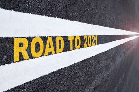 Road to 2021 word on road surface. Business challenge future ahead concept and keep moving idea Stock fotó