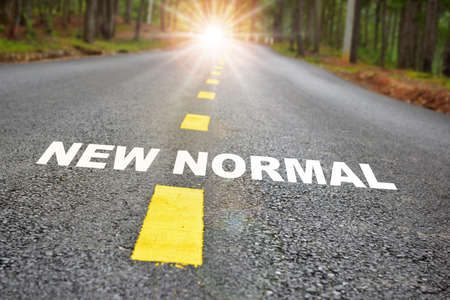 Road to new normal with the sunbeam after COVID-19 . Business challenge concept and natural background idea