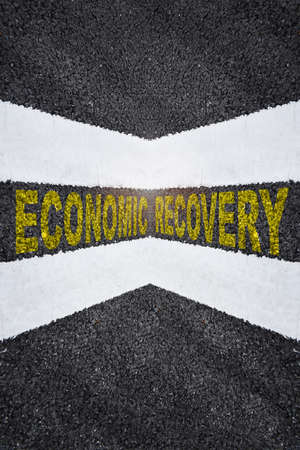 Road to economic growth. Business challenge concept