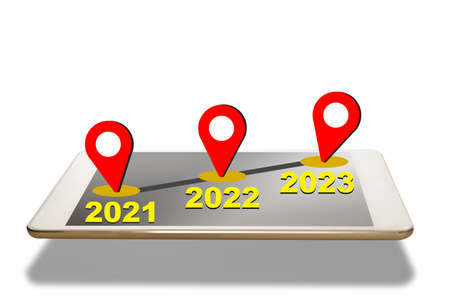 New year from 2021 to 2023 with global positioning pin on computer tablet screen on white background. Road to happiness new year concept and smart technology idea