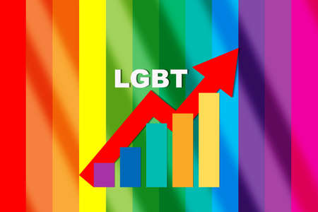 Growth graph of LGBT business on rainbow abstract background. Business opportunity challenge concept and equality success idea