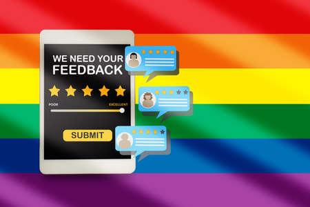 LGBT business rating application review with comment on computer tablet screen on rainbow abstract background. Five stars feedback concept and business success technology idea