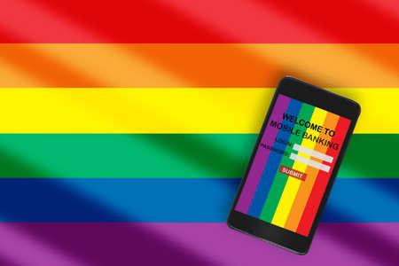 LGBT fintech lifestyle community concept and financial technology investment idea.Mobile banking business on smartphone on colorful rainbow flag background