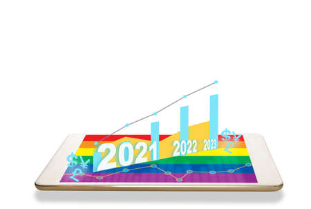 New year 2021, 2022 and 2023 with growth graph and currency on computer digital tablet with rainbow colorful screen isolated on white background. Standard-Bild