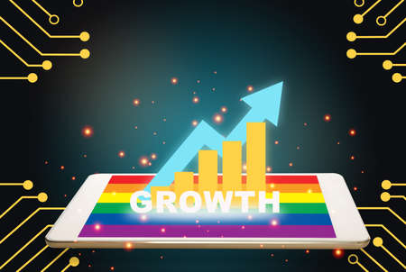 Investment technology concept and innovation connection idea. Growth graph on computer digital tablet with rainbow colorful screen on technology theme background