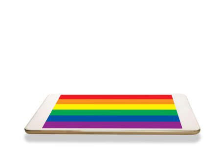 Computer digital tablet with rainbow colorful screen isolated on white background.
