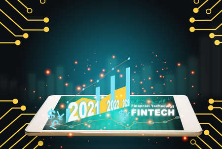 New year 2021 2022 2023 financial technology is changing business. Artificial intelligence and fintech theme technology transformation concept and investment with internet of thing idea