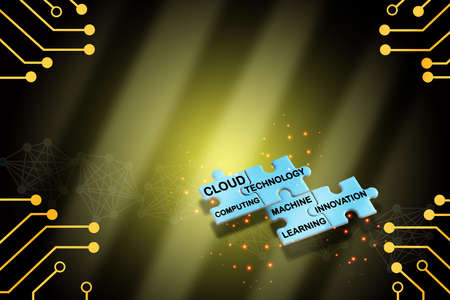 Words of cloud computing, technology, machine learning and innovation on blue puzzle on yellow digital theme background. Industrial revolution concept and technology transformation idea Standard-Bild