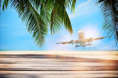 Commercial plane on planks on tropical beach background, travel recovery concept and business transportation idea