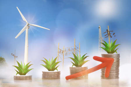 Renewable clean energy investment for sustainability  concept and alternative energy economic growth idea. Growing money plant on stack of coins and arrow with turbine and power background