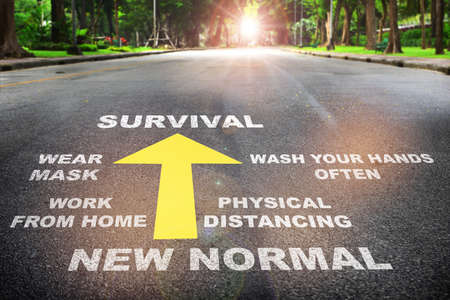 Road to survival from covid 19. Coronavirus disease 2019 or Covid-19 protect yourself concept and new normal challenge idea